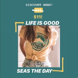 """Life Is Good """"Seas the Day"""" yellow top"""